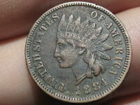1884 INDIAN HEAD CENT PENNY  VF DETAILS FULL LIBERTY