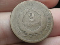 1864-1872 TWO 2 CENT PIECE- HEAVILY WORN, CHOCOLATE BROWN