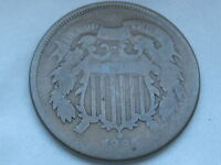 1865 TWO 2 CENT PIECE- CIVIL WAR TYPE COIN- VG DETAILS