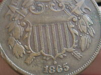 1865 TWO 2 CENT PIECE- CIVIL WAR TYPE COIN, EXTRA FINE  DETAILS, PARTIAL WE