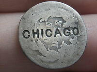 1875 SEATED LIBERTY SILVER DIME  COUNTERSTAMPED CHICAGO