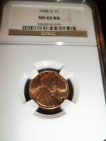 1948 D LINCOLN CENT NGC MS65RD