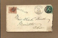 US 1ST ISSUE POSTAGE DUE ON COVER, BOSTON, MA COVER, NEGATIVE A IN CIRCLE TO OH