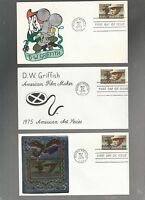 US FDC FIRST DAY COVER  1555 D W GRIFFITH 1975   LOT OF 6