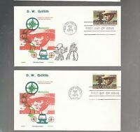 US FDC   1555 D W GRIFFITH 1975 LOT OF 2 JACKSON AND OVERSEAS MAILER