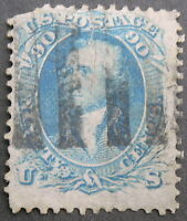 US  USED 1861-62 - 72 90C BLUE WASHINGTON - CUT IN THE TOP