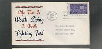 US FIRST DAY COVER FDC  926 MOTION PICTURE 1944  PATRIOTIC