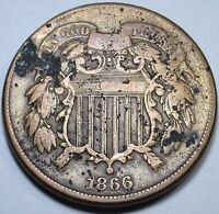 1866 VF-EXTRA FINE  U.S. TWO CENT PIECE 2 PENNY US ANTIQUE CURRENCY OLD CIVIL WAR COIN