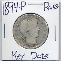 1894 P BARBER SILVER HALF DOLLAR US MINT  KEY DATE SILVER COIN
