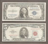2  $1 1935F SILVER CERTIFICATE & $5 1963 RED SEAL NOTES