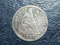 1887 SEATED LIBERTY DIME NICE COIN  LOT  570
