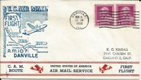 1950 FIRST FLIGHT COVER AM107E2 FLOWN FROM DANVILLE ILLINOIS
