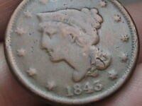 1843 BRAIDED HAIR LARGE CENT PENNY PETITE SMALL LETTERS VG DETAILS