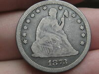 1873 NO ARROWS OPEN 3 SEATED LIBERTY QUARTER  FINE/VF DETAILS