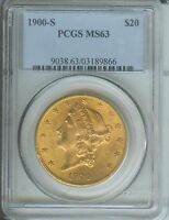 1900 S $20 LIBERTY DOUBLE EAGLE PCGS MS63 SAN FRANCISCO BETTER DATE