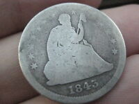 1843 SILVER SEATED LIBERTY QUARTER   FULL DATE