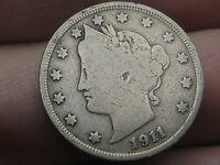 1911 LIBERTY HEAD V NICKEL- VG/FINE DETAILS, FULL RIMS