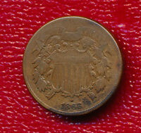 1866 TWO CENT PIECE  CIRCULATED COPPER COIN SHIPS FREE