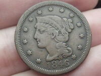 1846 BRAIDED HAIR LARGE CENT   TALL DATE  VF OBVERSE DETAILS