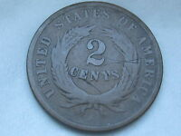 1864-1872 TWO 2 CENT PIECE- CIVIL WAR TYPE COIN, VG REVERSE DETAILS