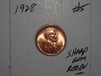WHEAT PENNY 1928 GEM RED BU 1928 P LINCOLN CENT SHARP UNC RED LUSTER LOT  5