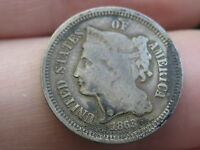 1868 THREE 3 CENT NICKEL  CIVIL WAR TYPE COIN VG/FINE DETAILS