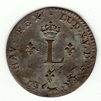 FRENCH COLONIAL 1741 A 2ND SEM. BILLON SOUS MARQUES VLACK  20A R5