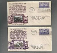 US FIRST DAY COVER FDC  922 RAILROAD TRAIN 1944 BY CROSBY LOT OF 2