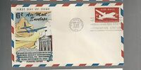US FIRST DAY COVERS FDC  UC18 AIR MAIL 1950 EMBOSSED BY FLUEGEL