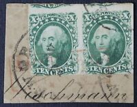 CKSTAMPS: US STAMPS COLLECTION SCOTT14 10C WASHINGTON USED PAIR ON-PIECE