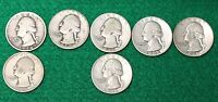 LOT OF 7 SILVER UNITED STATES QUARTERS 25 DATED 21934 21942 1938 1946 1947