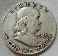 1949 FRANKLIN HALF DOLLAR AVERAGE CIRCULATED   WILL COMBINE SHIPPING
