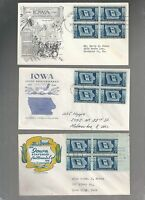 US FDC  FIRST DAY COVER  942 IOWA 1946  LOT OF 3 WITH BLOCKS