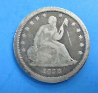 1838  P  SEATED LIBERTY QUARTER DOLLAR 90 SILVER