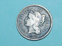 1869 THREE CENT NICKEL NICE OLD US COIN 2233
