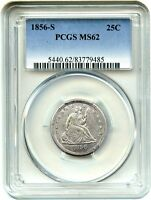 1856 S 25C PCGS MS62    DATE   LIBERTY SEATED QUARTER    DATE