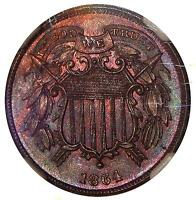 1864 SMALL MOTTO 2C NGC MINT STATE 64 BN   TWO CENT COPPER WITH COLOR