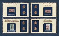 4 100 YEARS LINCOLN COINS & STAMPS PANELS..1993 96 & 2005 8..8 COINS..4 STAMPS