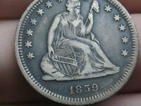 1859 O SILVER SEATED LIBERTY QUARTER  VF/XF DETAILS