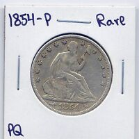 1854 P SEATED LIBERTY SILVER HALF DOLLAR US MINT  DATE SILVER COIN