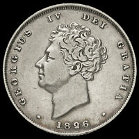 1826 GEORGE IV MILLED SILVER SHILLING VF