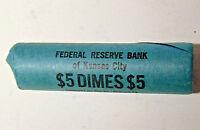 ORIGINAL BANK WRAPPED ROLL 1962 D ROOSEVELT SILVER DIMES KANSAS CITY FED