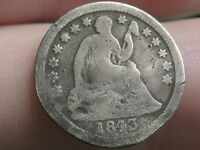 1843 SEATED LIBERTY HALF DIME  GOOD DETAILS