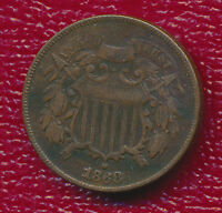 1868 COPPER TWO CENT PIECE  CLEAR SHIELD FEATURES SHIPS FREE