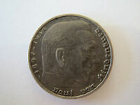 GERMANY THIRD REICH  SILVER 5 REICHSMARK 1936 HINDENBURG ISSUE   UNCLEANED