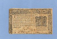 1776 $5 DOLLARS NEW YORK COLONIAL CURRENCY FINE CONDITION