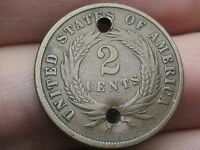 1868 TWO 2 CENT PIECE- FINE/VF DETAILS, HOLED TWICE, OLD BUTTON?
