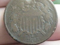 1868 TWO 2 CENT PIECE- VG/FINE DETAILS- WE SHOWING