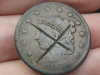1835 MATRON HEAD LARGE CENT PENNY  HEAD OF 1836 X COUNTERSTAMPED?