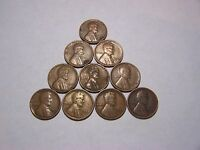 10-LINCOLN WHEATS 1921  1923 1927-S 1929-D 1930-S 1935-D 1940 1947-S 1950-S 1952